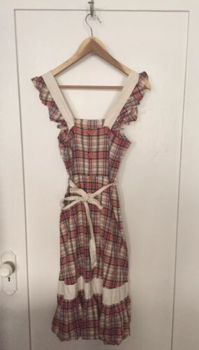 VINTAGE Apron Red Plaid Button Down Ruffle Sleeve