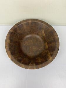 "Vintage MCM Large 12"" Weavewood Inc Minneapolis Wooden Salad Bowl Checked Weave"