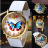 Fashion Women Butterfly Leather Strap Watches Analog Quartz Dress Wrist Watch