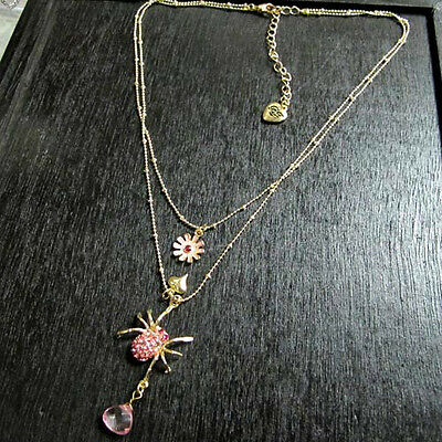 N825 Betsey Johnson Rhinestone Spider Tarantula Black Widow Insect Necklace US