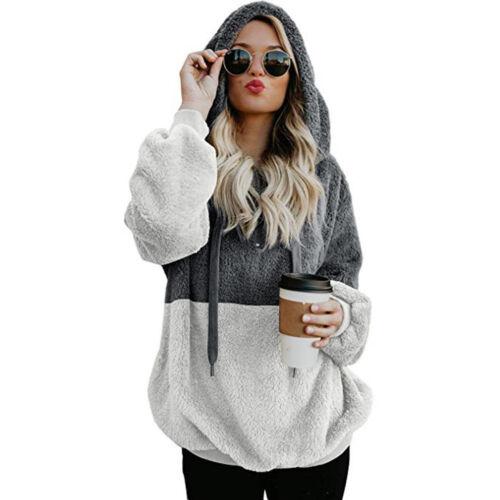 Women Winter Oversized Hooded Soft Velvet Sweatshirt Hoodie Pullover Coat Jacket