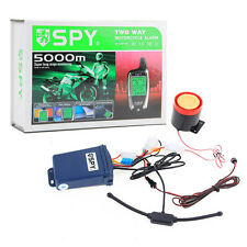 SPY 5000m 2 Way Motorcycle Alarm Security System Engine Start & 2 LCD Remote