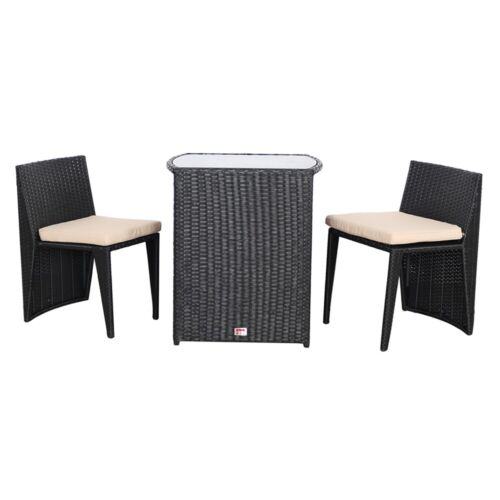 Gartenmöbel 3er Set Schwarz Poly Rattan Sitzgarnitur Gartenbar Rattanbar