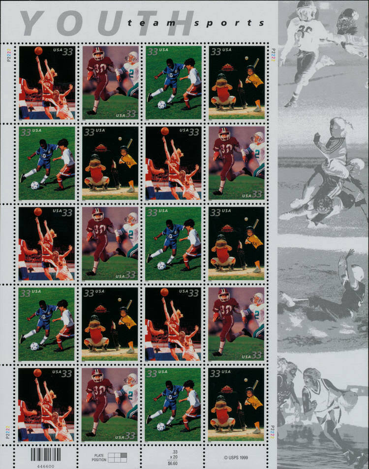 2000 33c Youth Team Sports, Sheet of 20 Scott 3399-3402