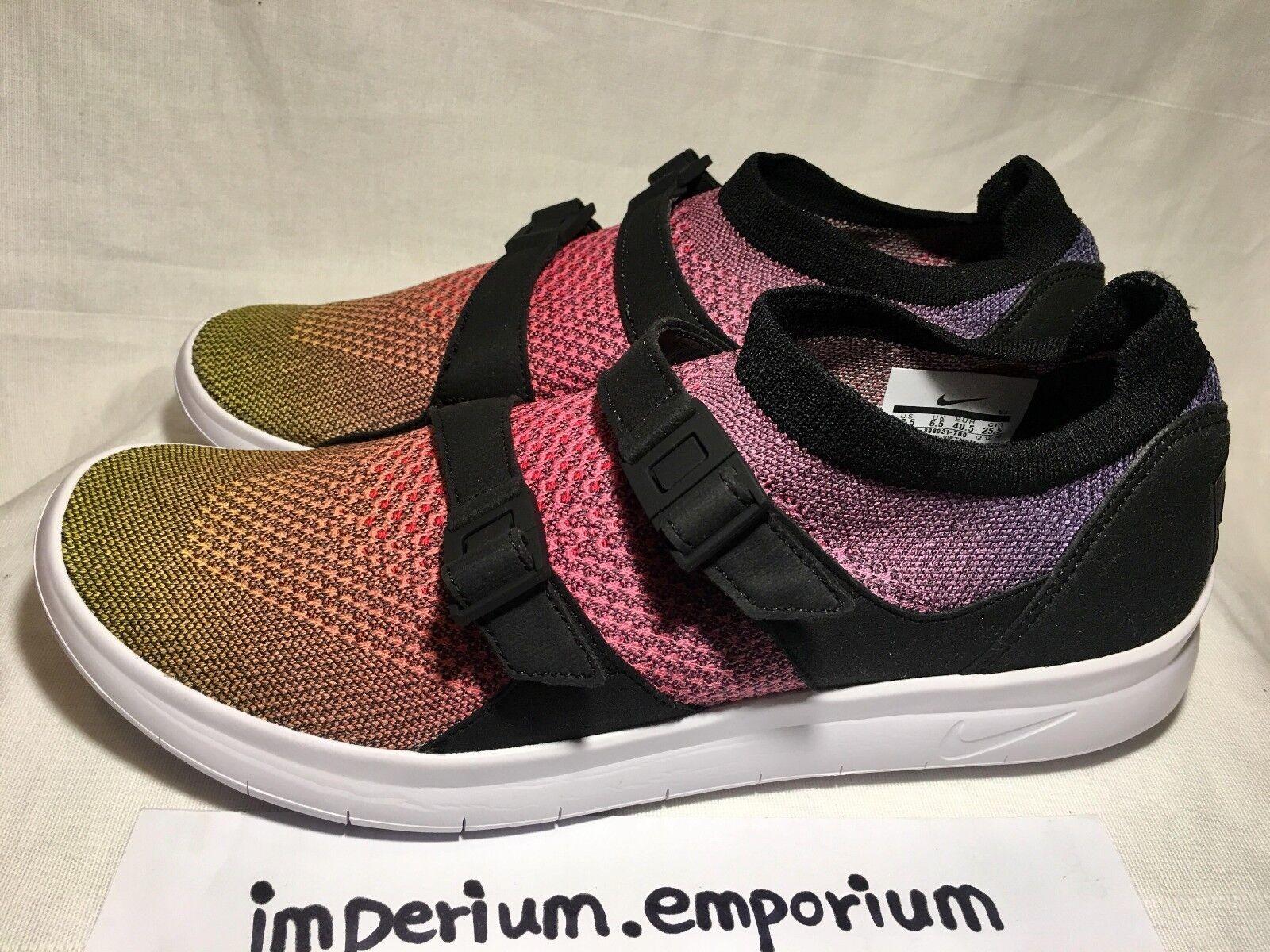 Zapatos casuales salvajes Para hombres Nike Air sockracer Flyknit PRM Zapatillas Zapatillas Amarillo/Rosa Size Uk 6.5