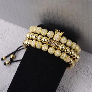 Charmant Luxury Men's Micro Pave Zircone Cubique Boule Couronne Tressée Réglable Bracelets Charme Bijoux-afficher Le Titre D'origine