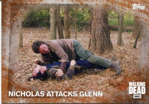 Walking Dead Season 5 Rust Parallel Base Card #97 NICHOLAS ATTACKS GLENN