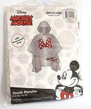Disney Youth Kids Minnie Mouse Bow Parts Rain Poncho Keep Dry