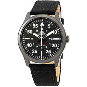 Orient-Sport-Black-Dial-Black-Leather-Men-039-s-Watch-FUNG2003B0