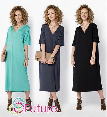 Womens Oversized Midi Dress V Neck Calf Length Kimono Tunic Plus Sizes 8-18 Fm22 SpäTester Style-Online-Verkauf Von 2019 50%