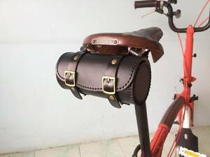 Image Is Loading Genuine Leather Bicycle Saddle Bag Tool Vintage