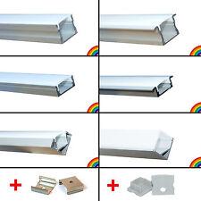 NEU elox. Aluminium Profile Leisten Schienen + Zubehör für Alu LED Streifen