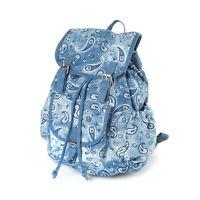 Blue Paisley Denim Backpack Shoulder Bag School Bookbag -