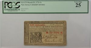 March-25-1776-1-Shilling-New-Jersey-Continental-Currency-Note-PCGS-VF-25-NJ-175