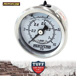 Aeroflow-White-0-15-PSI-Liquid-Filled-Carb-Fuel-or-Oil-Pressure-Gauge-1-8-034-NPT