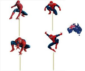 12-x-Spiderman-Cupcake-Jelly-Cup-Toppers-Toothpicks-Boys-Party-Birthday-Decor