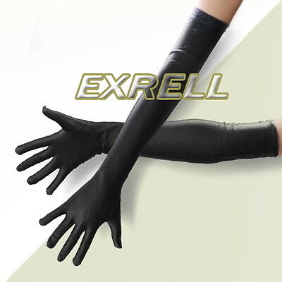 Long Black Female Gothic Gloves Opera Costume Elbow Evening Ladies 1920s 54CM