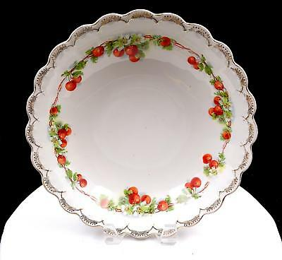 """Ceramics & Porcelain Humble Empire China #4155 Cherries And Gold Floral Swag 10 5/8"""" Bowl Antiques"""