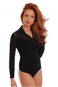 5e5b3a889 Women Bodysuit Long Sleeve Top Blouse Leotard Collar Black Cuffs ...