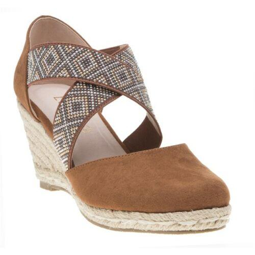 New Womens Lotus Tan Zade Textile Sandals Espadrilles Elasticated Straps