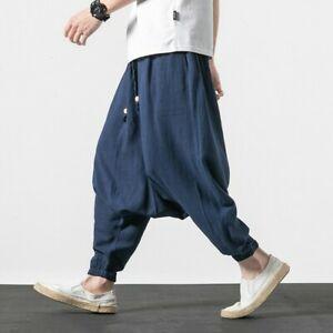 Hombre Harem Pantalones Sueltos Saggy Baja Entrepierna Caida Pantalones Bombachos Algodon Lino Lp00 Ebay