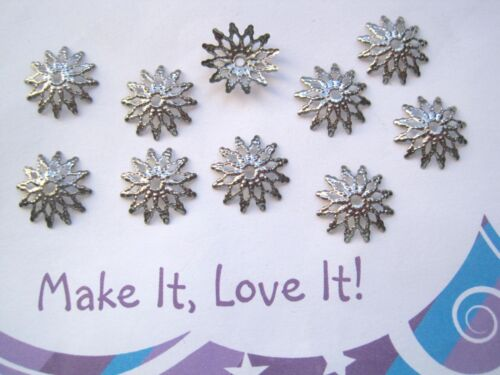 10 x POINTED FILIGREE FLOWER STAR Bead Caps 13mm Silver Gold Bronze Copper