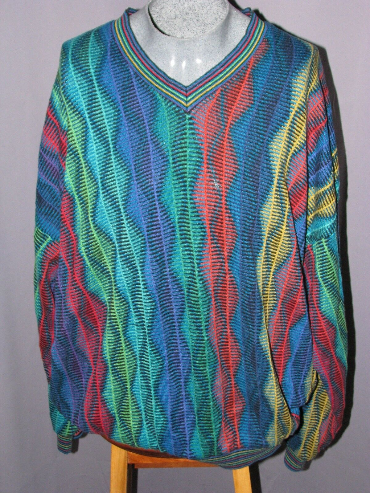 Mens L Tundra Knit Cosby Vtg Sweater 100% Mercerized Cotton colorful Street Wear
