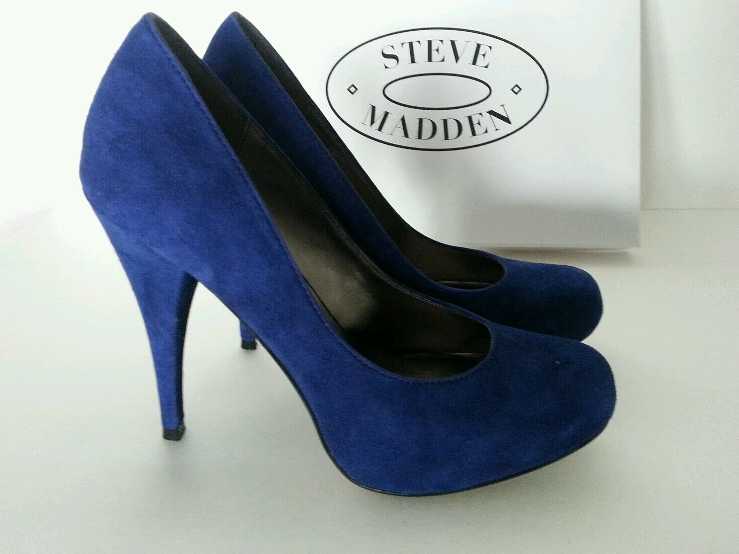 Steve Madden New Trinitie 8.5 M Midnight Blau Leather Leather Leather round open pumps heels d7f1cf