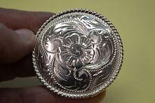 """Finest FLEMING STERLING SILVER Engraved Western Concho Belt Buckle for 1"""" Belt"""