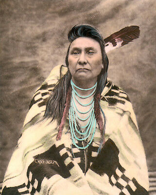 """CHIEF JOSEPH NATIVE AMERICAN INDIAN NEZ PERCE 11x14"""" HAND COLOR TINTED PHOTO"""
