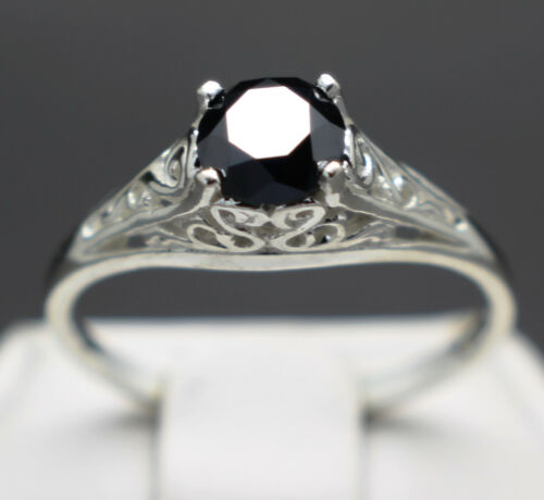 .66cts 5.51mm Natural Black Diamond Ring, Certified, AAA Grade & $510 Retail