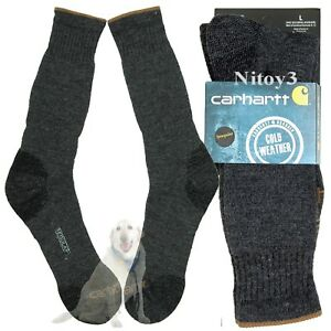 9101d13ded1b5 Image is loading Carhartt -Triple-Blend-Thermal-Crew-Socks-Cushioned-Midweight-