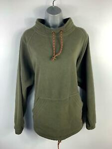 WOMENS-SPORTIF-KHAKI-GREEN-JUMPER-TOGGLE-FLEECE-SWEATER-PULL-OVER-SIZE-L-LARGE