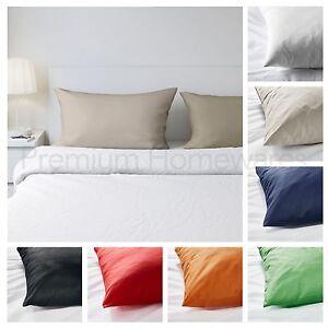 4 x IKEA DVALA 100% Cotton Pillowcases (White/Beige/Blue/Green/Orange/Red/Black)