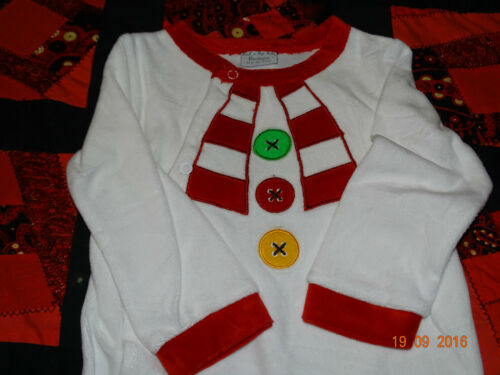 Really Cute Snowman Baby Grow//Sleep Suit Great For Christmas 3//6 /& 9//12 months