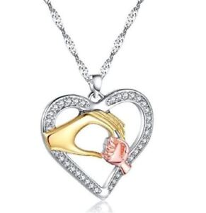 Women Jewelry 1Pc Rhinestone Mother And Child Hand In Hand Pendant Necklace