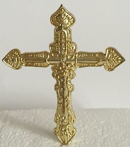 cross cake topper gold plastic cross holy communion christening confirmation 3193