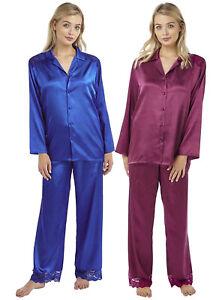 c23ee185b2 Womens Indigo Sky Satin Charmeuse Long Sleeve Pyjamas Grape Peacock ...