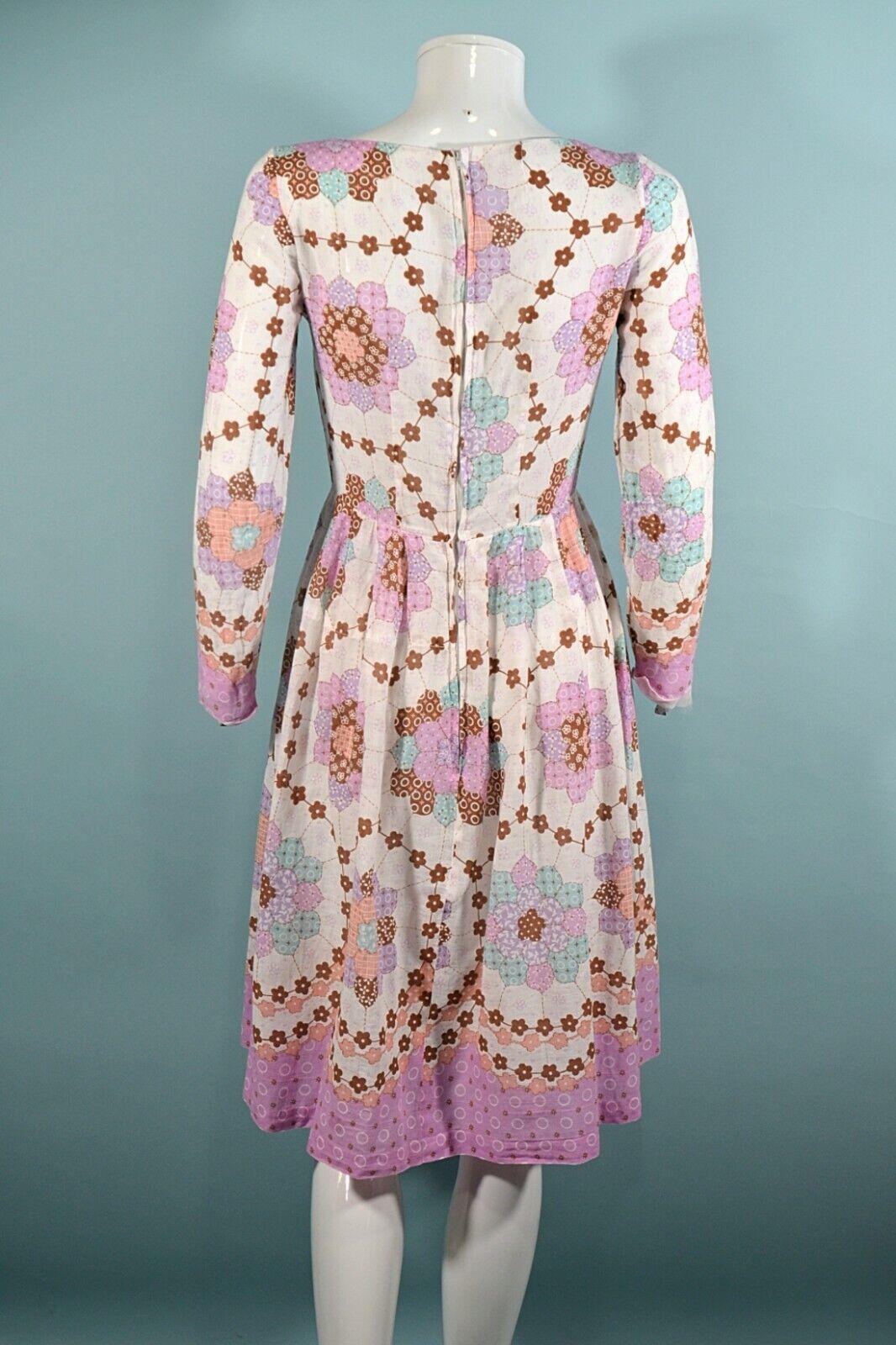 Vintage 60s/70s Faux Patchwork Hippie Dress, Cott… - image 7