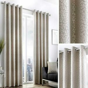 Beige Eyelet Curtains Leopard Print Jacquard Ready Made Lined Ring