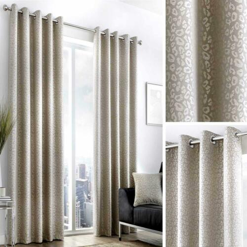 Beige Eyelet Curtains Leopard Print Jacquard Ready Made Lined Ring Top Pairs