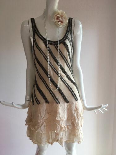 Warehouse Nude Size Gatsby Dress 1920s Rara Pink Beaded Hem Bnwt Flapper 12 xxrT7wH
