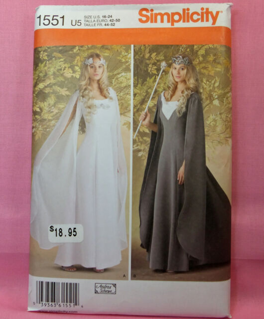 Simplicity 1551 Misses Fantasy Costume Long Layered Gown Flowing Sleeves 16-24