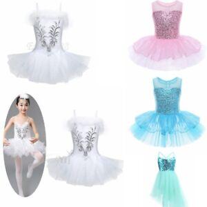 868f9ee92 Girl Pink Blue Sequin Dancing Dress Leotard Ballet Tutu Dress Dance ...