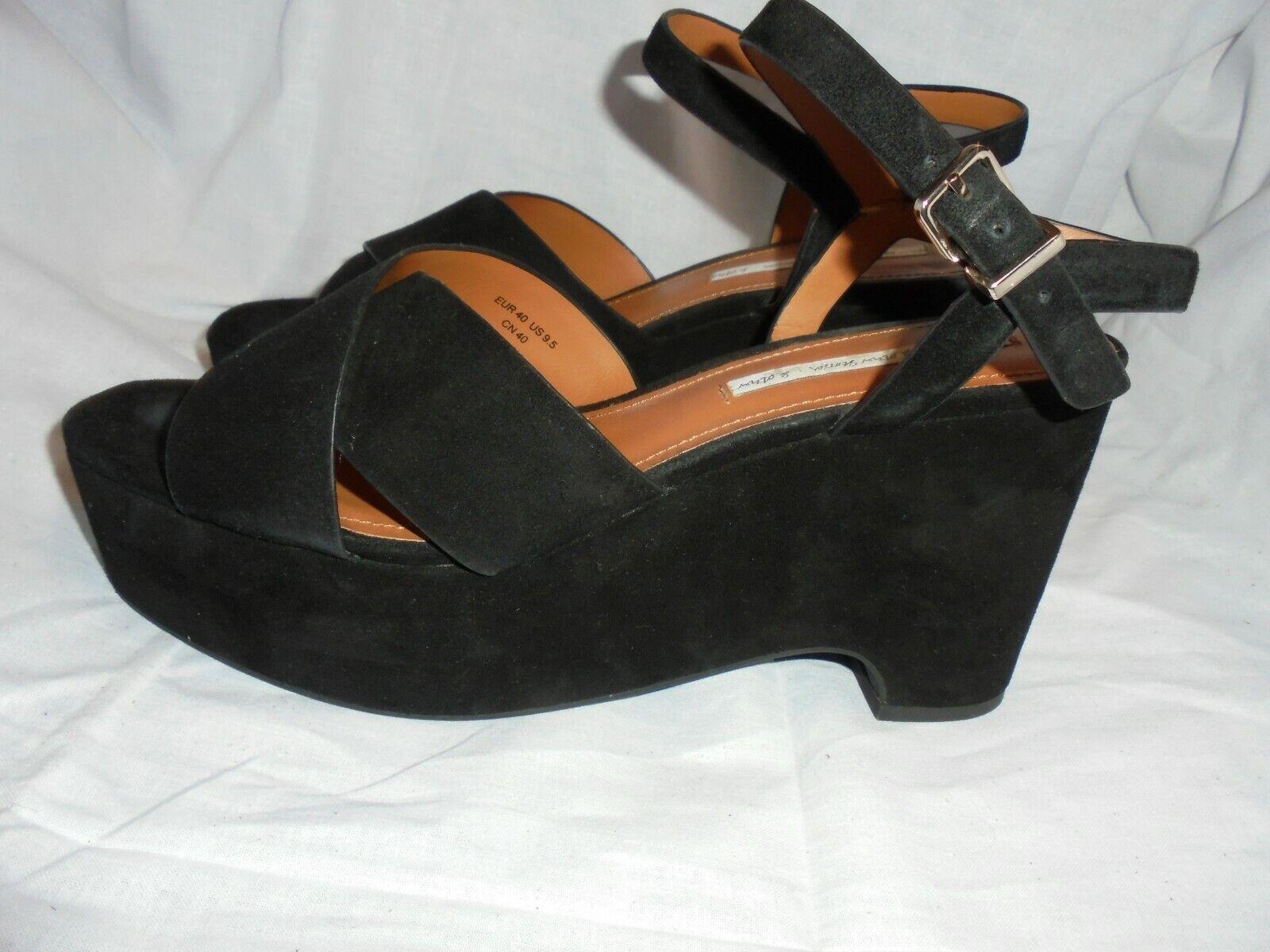 & Other Stories Femmes Noir Daim Boucle Sandale Taille UK 7 EU 40 US 9.5 très bon état