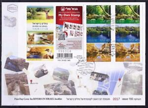 ISRAEL-2015-RIVERS-IN-ISRAEL-6-STAMPS-BOOKLET-ON-FDC-KZIV-TANINIM-ZIN