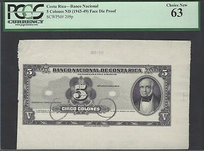 Sincere Costa Rica 5 Colones Nd 1943-49 P209p Face Die Proof Uncirculated Structural Disabilities