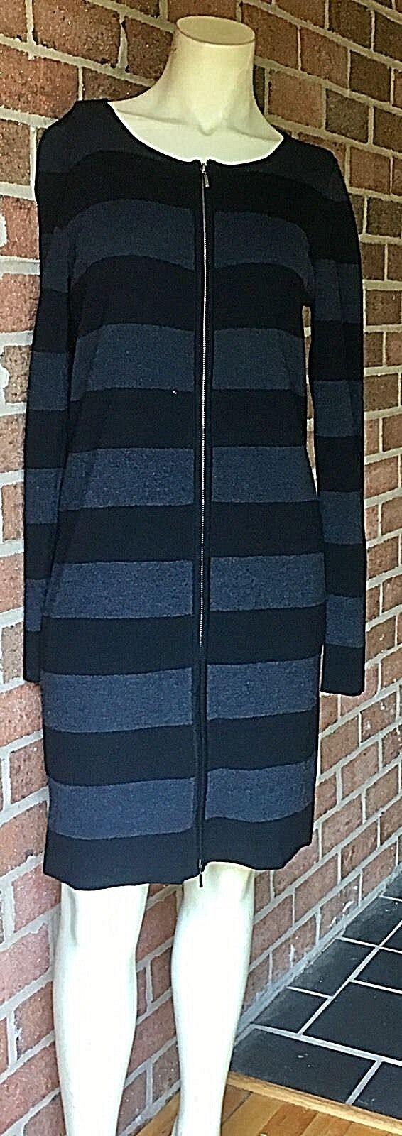 WHITE + WARREN Striped Pure Merino Wool Long Sleeve Sweater Dress Zip Front M