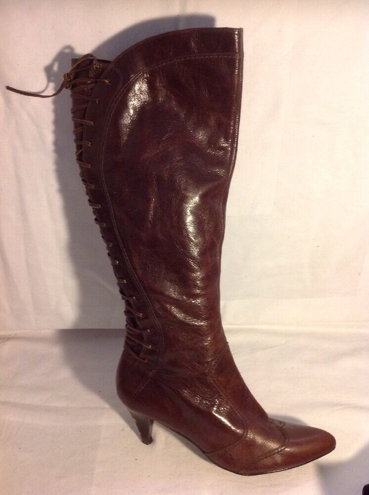 Dune Brown Knee High Leather Boots Size 40