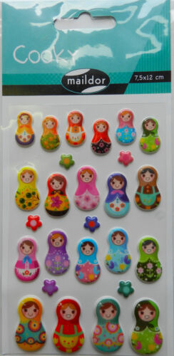 7,5x12cm Sticker Set Cooky Russische Matroschka 3D-Sticker Maildor 26 tlg